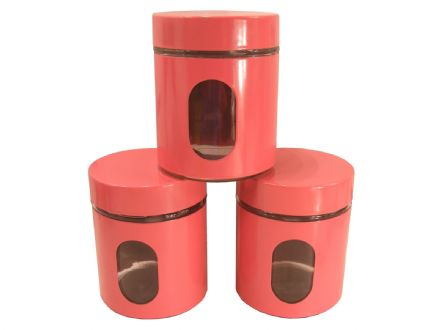 BN SET OF 3 PINK KITCHEN CANISTERS - COFFEE,TEA,SUGAR